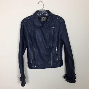Blanc Noir Faux Leather Moto Jacket Small Blue